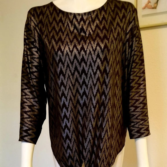 Notations Tops - Black and Silver Metallic Blouse